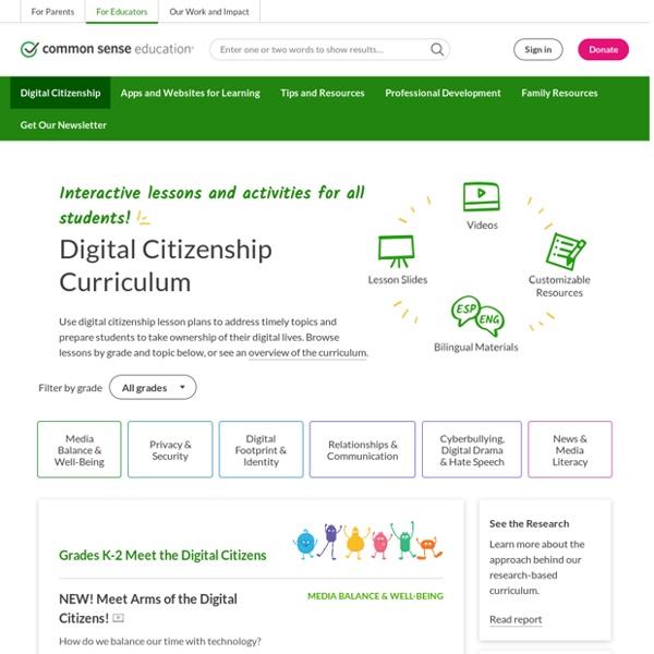 Scope & Sequence: Common Sense K-12 Digital Citizenship Curriculum