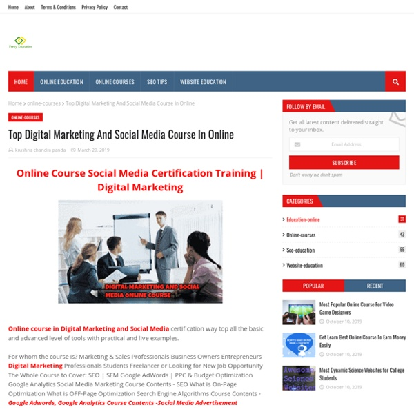Top Digital Marketing And Social Media Course In Online
