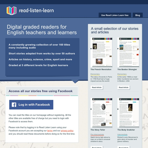 Read Listen Learn - digital graded readers with audio to help people teach and learn English as a foreign language