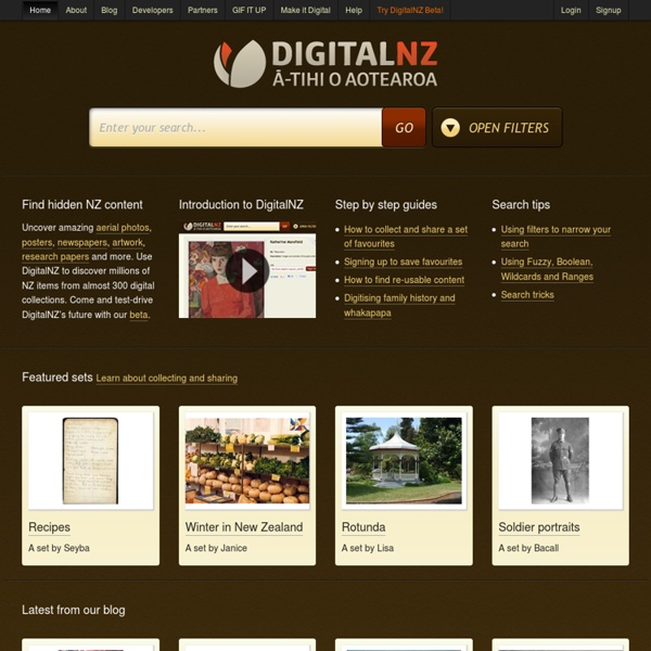 DigitalNZ: search libraries, museums, archives, etc