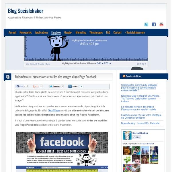 Aide-mémoire: dimensions et tailles des images d'une Page Facebook