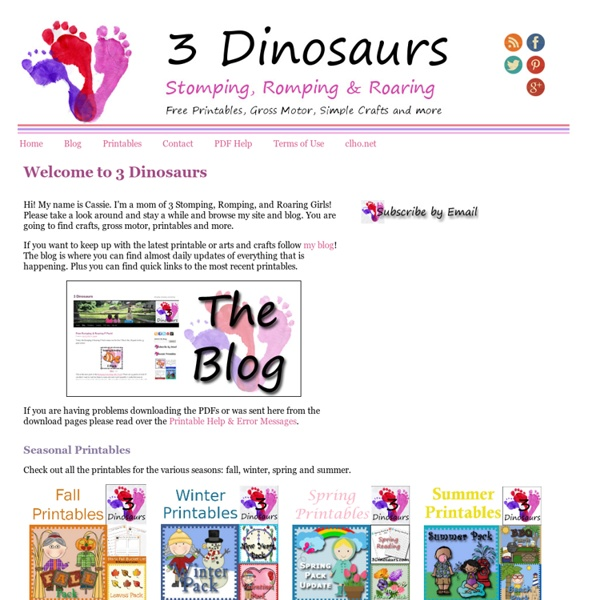 3 Dinosaurs - Stomping, Romping, and Roaring: Printables, Gross Motor, Crafts & More