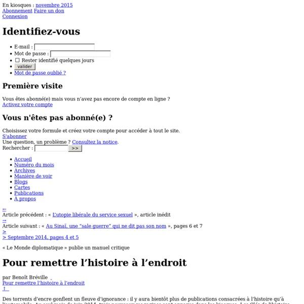 Un manuel pour remettre l'histoire à l'endroit, par Benoît Bréville (Le Monde diplomatique, septembre 2014)
