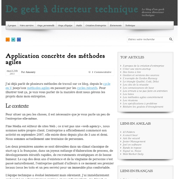 Application concrète des méthodes agiles