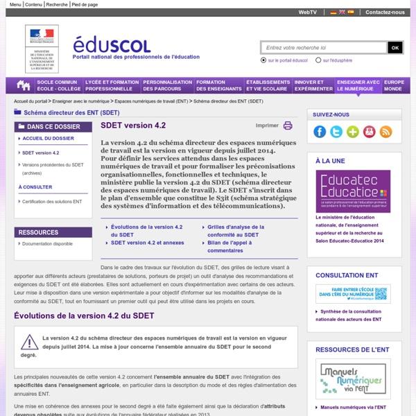 Schéma directeur des ENT (SDET) - SDET version 4