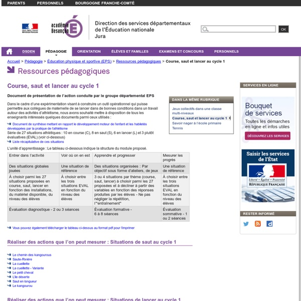 Course, saut et lancer au cycle 1 - Direction des services départementaux de l'éducation nationale du Jura