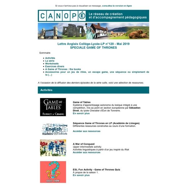 Lettre Anglais Collège-Lycée-LP n°120 - Mai 2019 SPECIALE GAME OF THRONES - Réseau Canopé – Direction territoriale académies de Besançon et de Dijon