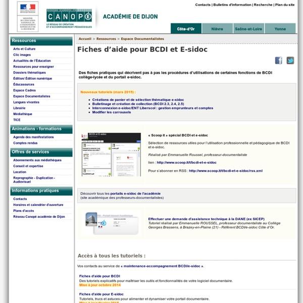 Fiches d'aide pour BCDI et E-sidoc - Canopé académie de Dijon