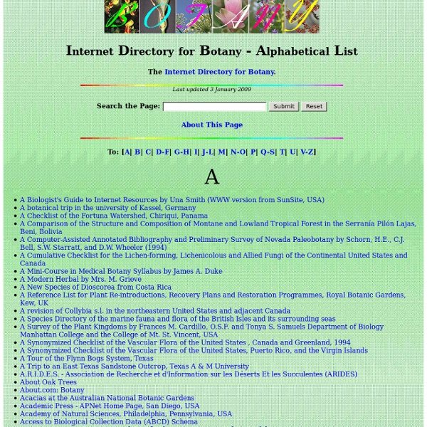 Internet Directory for Botany - Alphabetical List