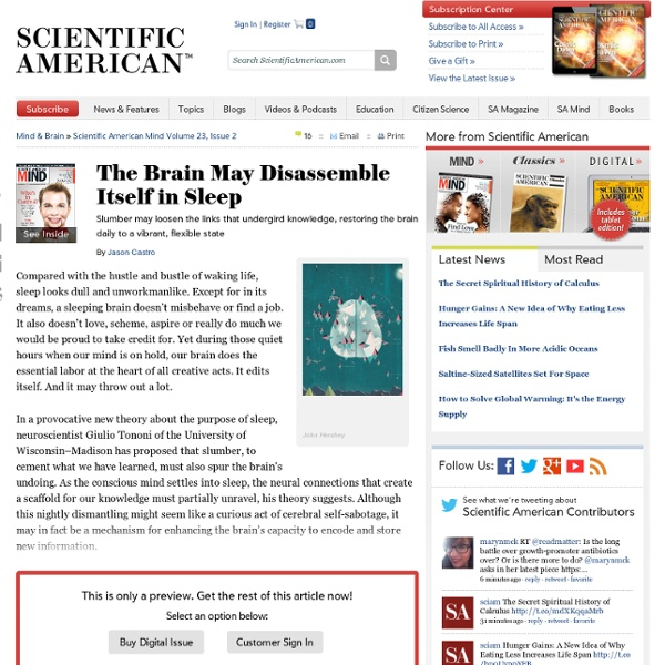 The Brain May Disassemble Itself in Sleep