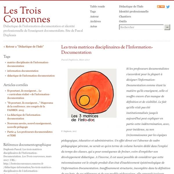 Les trois matrices disciplinaires de l'Information-Documentation