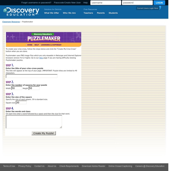 Discovery Education's Puzzlemaker: Create your own cross word puzzles!
