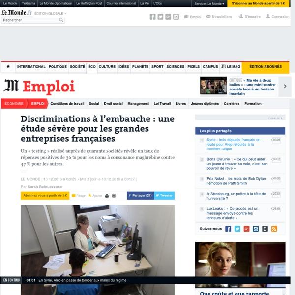 Discriminations à l'embauche: une étude sévère pour les grandes entreprises françaises