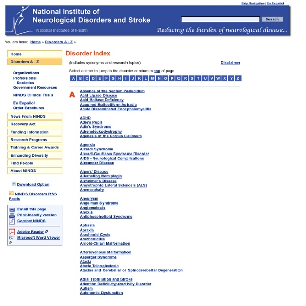 Disorders Index