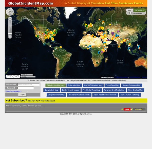 Global Incident Map Displaying Terrorist Acts, Suspicious Activity, and General Terrorism News