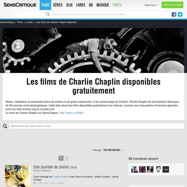 Les films de Charlie Chaplin disponibles gratuitement - Liste de 52 films