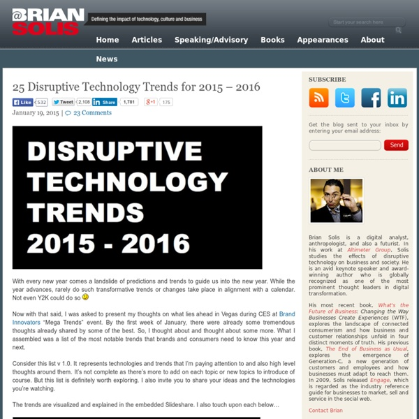 25 Disruptive Technology Trends for 2015 - 2016