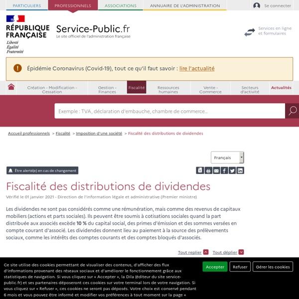 Régime fiscal des distributions de dividendes - professionnels