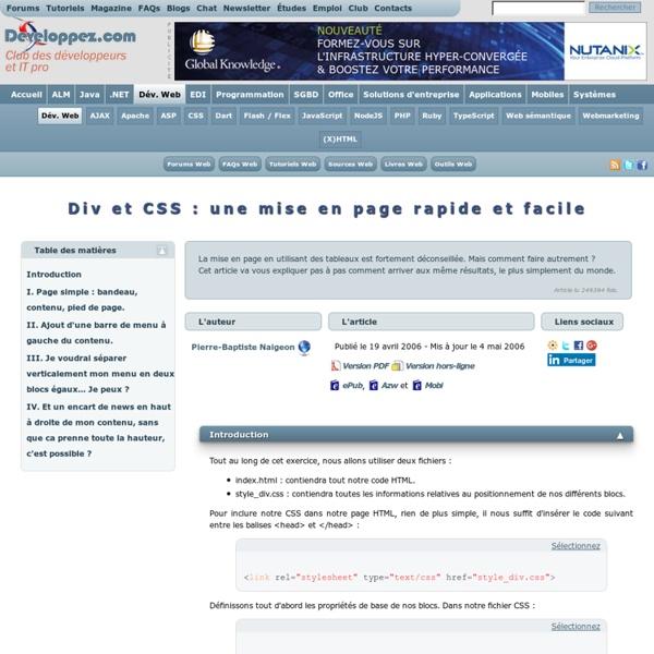Div et CSS : une mise en page rapide et facile