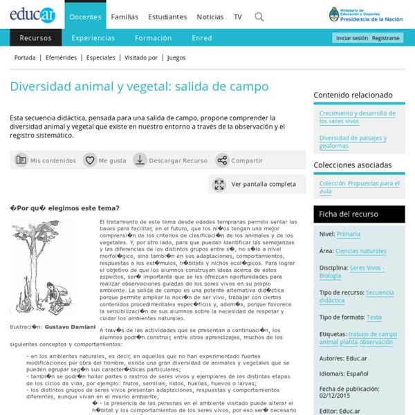 Diversidad animal y vegetal: salida de campo