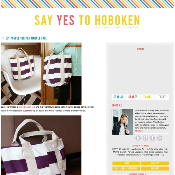 Say YES! to hoboken: DIY Purple Striped Market Tote