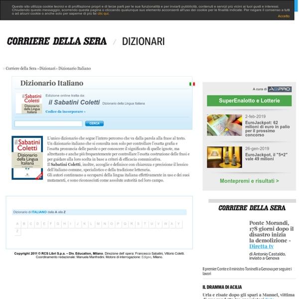 Dizionario Italiano - Vocabolario Italiano