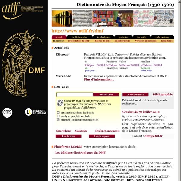 Page d'accueil du DMF