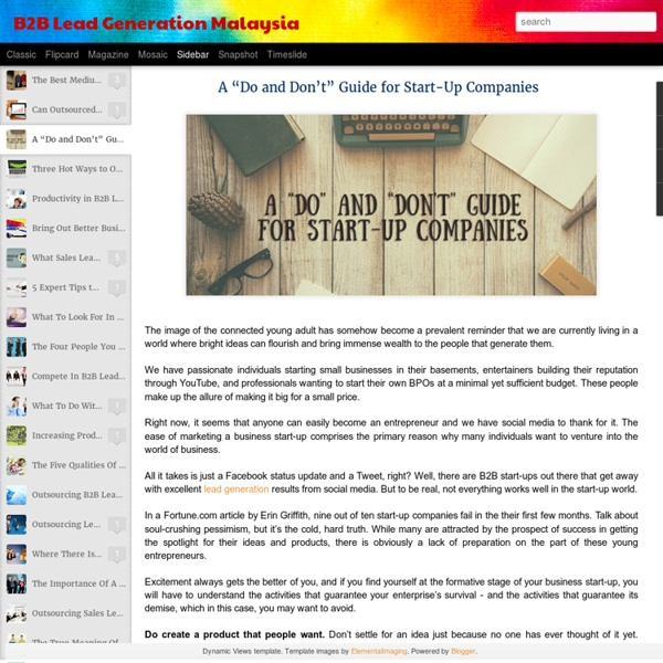 """A """"Do and Don't"""" Guide for Start-Up Companies"""