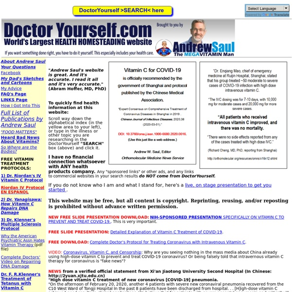 DoctorYourself.com: Andrew W. Saul's Natural Health Website