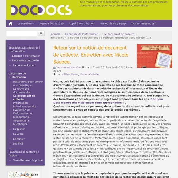 Commun et document de collecte_Retour sur la notion de document de collecte avec Nicole Boubée_doc pour docs