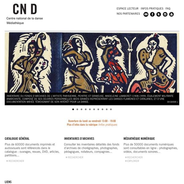 Portail documentaire de la médiathèque du Centre national de la danse