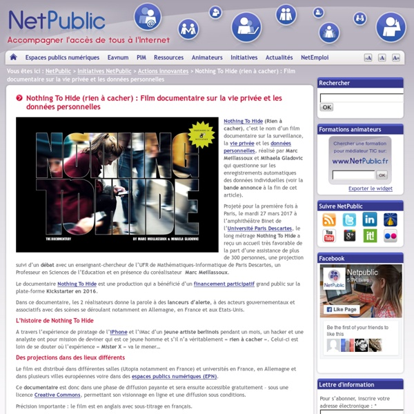 Nothing To Hide (rien à cacher) : Film documentaire sur la vie privée et les données personnelles