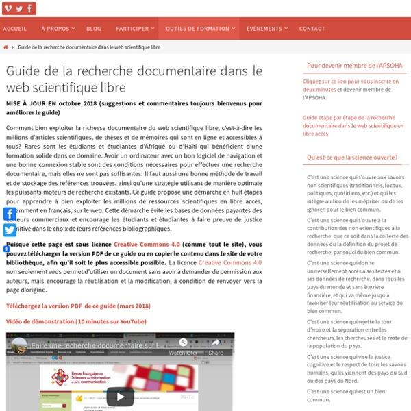 Guide de la recherche documentaire dans le web scientifique libre