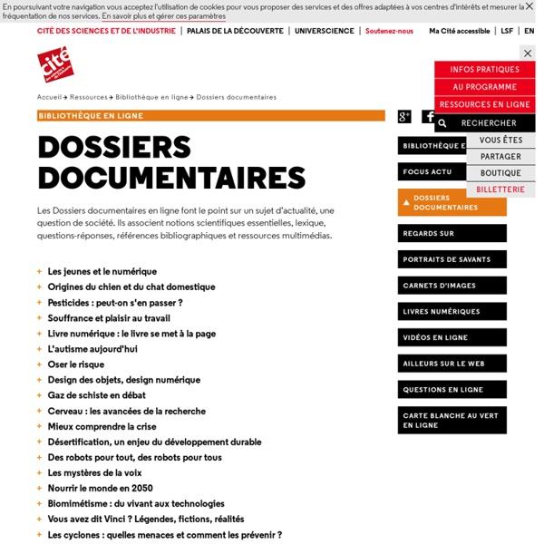 Dossiers documentaires - Bibliothèque en ligne