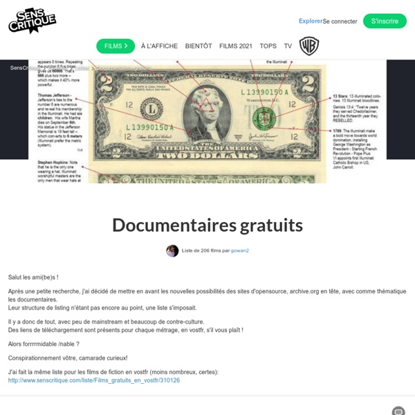 Documentaires gratuits - Liste de 84 films