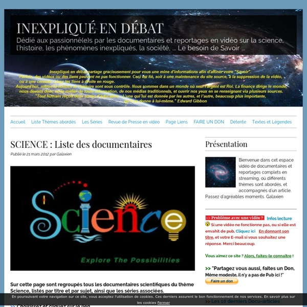SCIENCE : Liste des documentaires