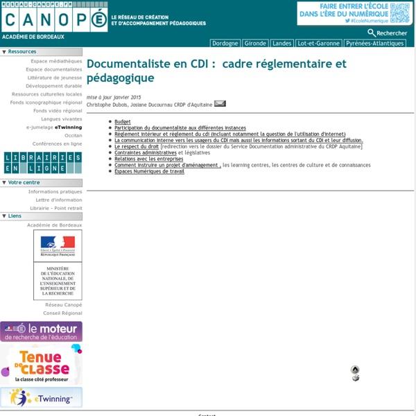 Canopé Bordeaux : Documentaliste en CDI : cadre réglementaire et pédagogique