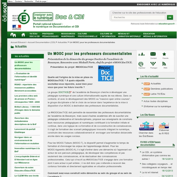 Un MOOC pour les professeurs documentalistes — Documentation (CDI)