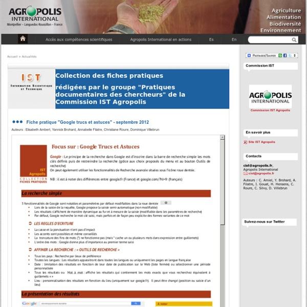 Fiches pratiques rédigées par des documentalistes de la Commission IST, Agropolis International, Montpellier - Agropolis International, Montpellier, France