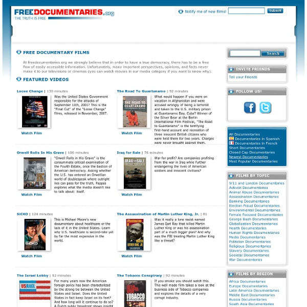 Download Free Political Documentaries And Watch Many Interesting, Controversial Free Documentary Films On That You Wont Find On The TV!