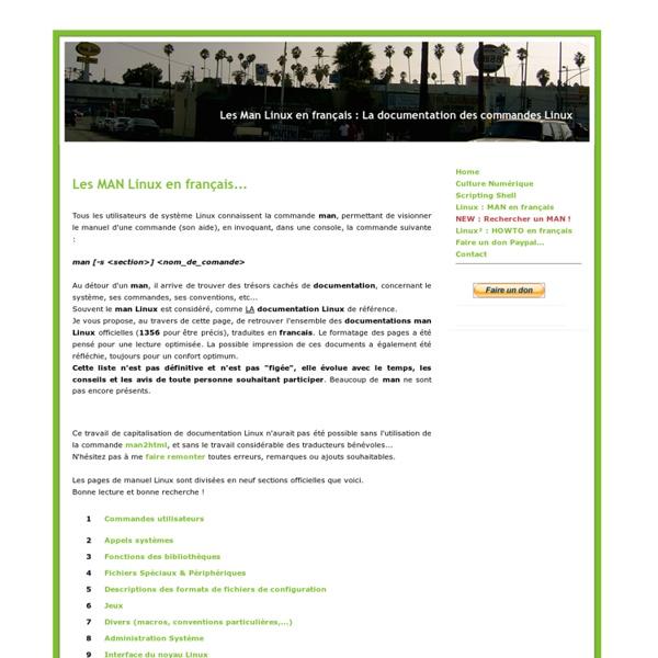 MAN LINUX en français, la documentation des commandes LINUX