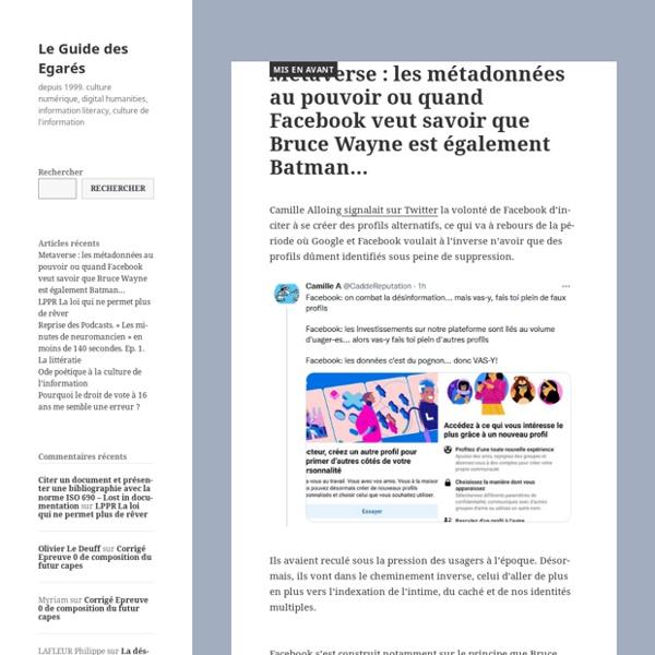Information literacy, documentation, CDI, Internet, Pédagogie, culture de l'information, sciences de l'information et de la communication.Olivier Le Deuff 1999-2010