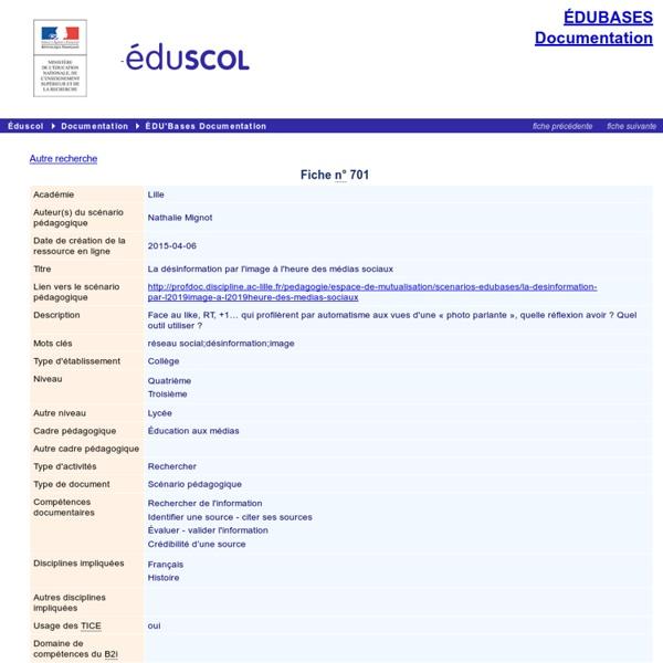 EDU'bases documentation - La désinformation par l'image à l'heure des médias sociaux