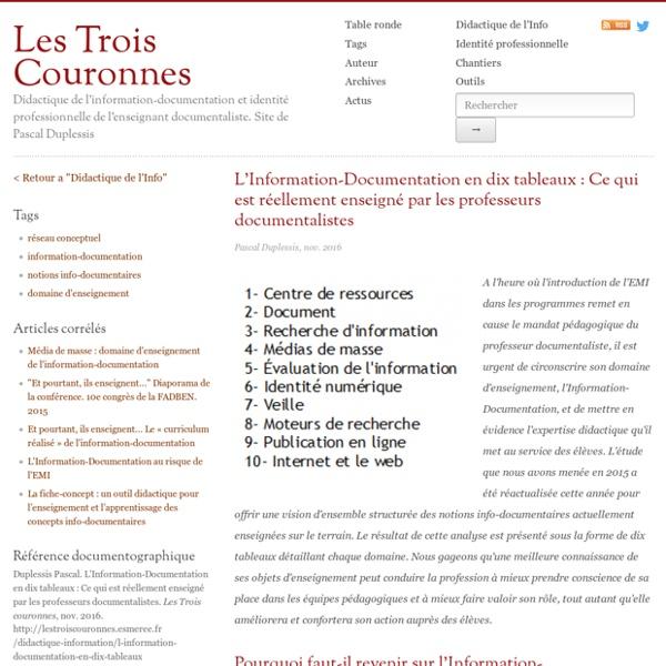 L'Information-Documentation en dix tableaux : Ce qui est réellement enseigné par les professeurs documentalistes