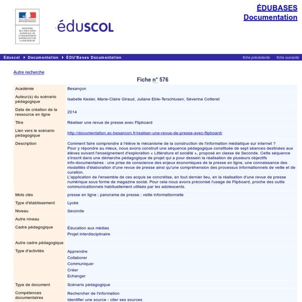 EDU'bases documentation - Réaliser une revue de presse avec Flipboard