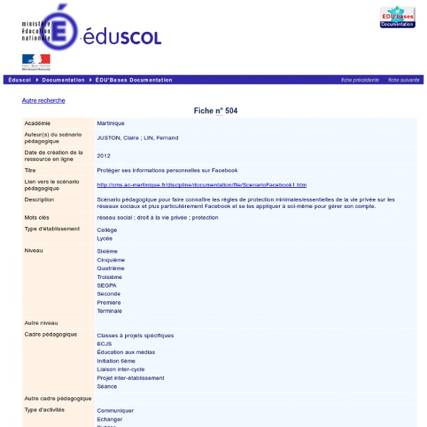 EDU'bases documentation - Protéger ses informations personnelles sur Facebook