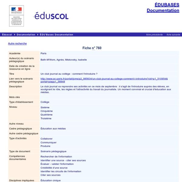 EDU'bases documentation - Un club journal au coll ge : comment l'introduire ?