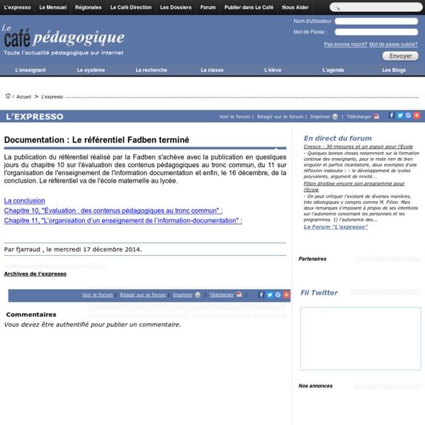 Documentation : Le référentiel Fadben terminé