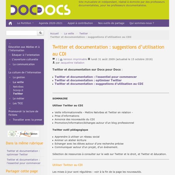 Twitter et documentation : suggestions d'utilisation au CDI