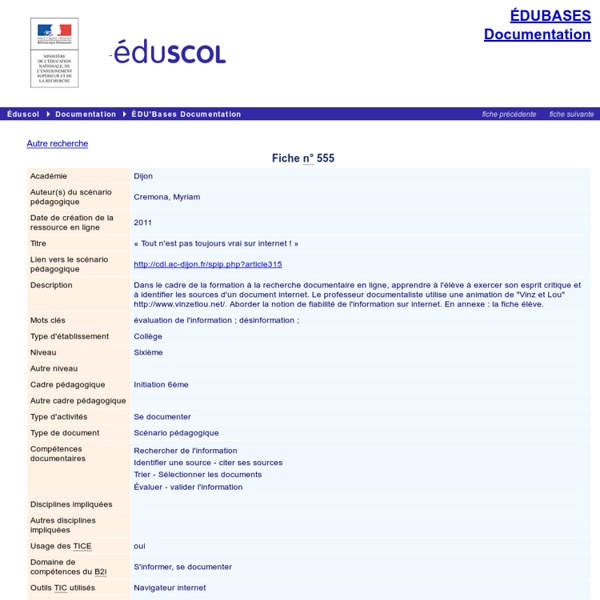 EDU'bases documentation - « Tout n'est pas toujours vrai sur internet ! »